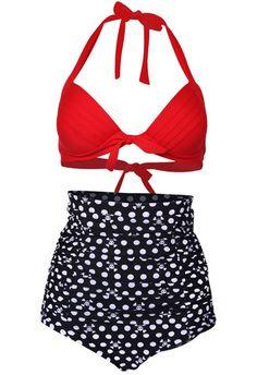Vintage 50s High Waist Bikini Set, Red/Black Skulls