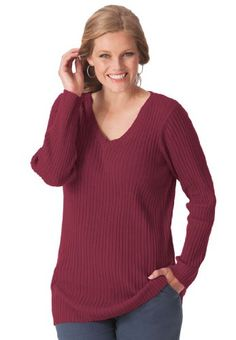 Pullover sweater with allover ribbing