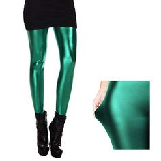 ce2018afcdebf Mermaid Fish Scale Leggings Full Length Stretchy Women Stretch Tight Pants (Shiny  Green