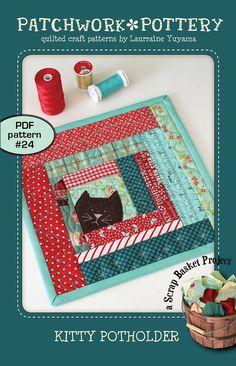 Kitty Potholder ( cat scrappy patchwork log cabin mug-rug trivet quilt pattern ) - Animals Potholder Patterns, Mug Rug Patterns, Craft Patterns, Quilt Patterns, Patchwork Patterns, Pdf Patterns, Canvas Patterns, Small Quilt Projects, Quilting Projects