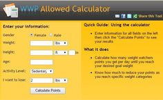 How Many Weight Watchers Points Am I Allowed? Free calculator to find total points per day. (Note: As you loose weight, you will need to recalculate for new points allowed... Deb)