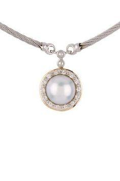 Classique 9.5mm Pearl & Diamond Pendant Necklace - 0.13 ctw