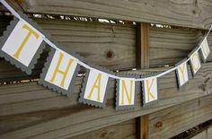 Thank You Banner in Grey and Yellow on Etsy, $12.00