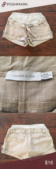 Khaki maternity shorts In excellent condition! Very gently worn. These shorts are adorable. Cotton/poly/rayon/spandex blend. Super soft and stretchy waistband. Thanks for looking. Jules and Jim Shorts Cargos