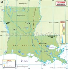 Physical Map Of Louisiana Shows Rivers Lakes Mountain Peaks Elevations Plateaus Plains And Other Topographic Features Of The State Of Louisiana Usa