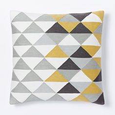 "Optical Triangle Crewel Pillow Cover - Horseradish | west elm 20"" $39"