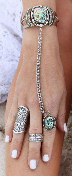 hermoso juego de pulsera y anillo encadenados, en plata con anabalón.