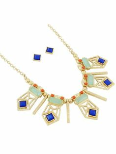 $5.45 Goldtone and Multi-Blue Beaded Geometric Bib Necklace and Earring Set
