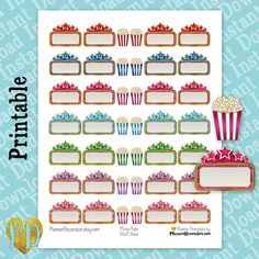 Movie Night Printable Planner Stickers for decorating your Erin Condren Life Planner, MAMBI Happy Planner, LimeLife Planners, Filofax or any