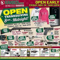 Gander Mountain, leading purveyor of top-quality hunting and fishing equipment, has released a 24-page Black Friday 2014 Ad loaded with awesome doorbusters. The sale opens on Thanksgiving Nov.27th from 8am-Midnight and also on Saturday Nov.29th fr...