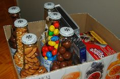 DIY Six Pack Snack Pack. Cute gift idea.  Cover the box with cute paper or fabric!