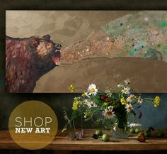 New Wall Art Decor and Artwork for the Home by GreenBox Art and Culture  Grizzly Growl by Eli Halpin