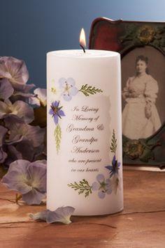 Blue Bouquet Memorial Candle:  http://www.weddingsarefun.com/chandlerbb360.html