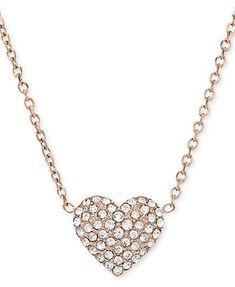 dc5a529f6e95c1 Michael Kors Necklace, Rose Gold-Tone Crystal Heart Pendant Necklace &  Reviews - Fashion Jewelry - Jewelry & Watches - Macy's