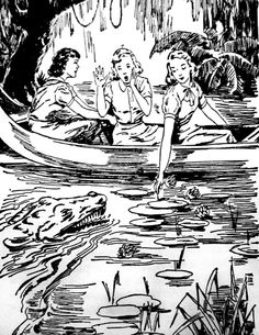"""Nancy Drew illustration: The same instant, Bess, who was watching her chum, screamed. She had seen the snout of an alligator rising from beneath the leaves. The reptile's jaws were aiming for Nancy's hand! """"Look out! Nancy Drew Mystery Stories, Nancy Drew Mysteries, Detective, Josie And The Pussycats, Nancy Drew Books, Boy Illustration, Best Mysteries, Retro Images, Smart Art"""