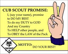 Cub Scout Promise printable with Motto, 8x10. I glued this to construction paper, added the Law of the Pack printable on the reverse, and laminated the whole thing. Perfect for Cub Scout meetings! Cub Scout Law printable, as well as handouts are also pinned on this board.