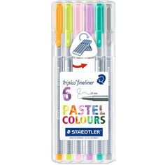 Staedtler Triplus Fineliner Pens 6-Color Pastel Set ($8.16) ❤ liked on Polyvore featuring home, home decor, office accessories and colored pens