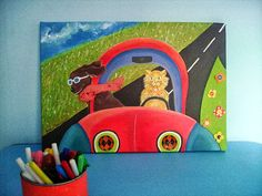 Items similar to Road Trip - Mixed Media wall art for boys or girls - Original painting for kids room - Perfect gift for kids regarding friendship on Etsy Kids Room Paint, Artists For Kids, Painting For Kids, Irene, Gifts For Kids, Boy Or Girl, Original Paintings, Road Trip, Mixed Media