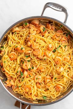 Garlic Parmesan Shrimp, Garlic Shrimp Pasta, Baked Shrimp, Shrimp Pasta Recipes, Spaghetti Recipes, Seafood Recipes, Steak Pasta, Shrimp Spaghetti, Spinach Recipes
