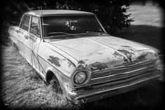 https://flic.kr/p/ACAWUY | Classic Chevy II_BW | Abandoned Chevy found in rural Oklahoma.