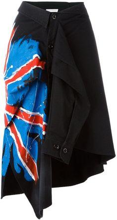 Faith Connexion hand-painted flag shirt skirt