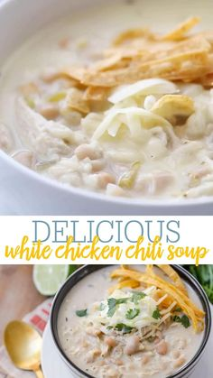 White Bean Chicken Chili, Crockpot White Chicken Chili, White Chili, Mexican Chicken Chili Recipe, White Chicken Enchiladas, Chili Soup Recipe, Hearty Soup Recipes, Best Chili Recipe, Chili Recipes