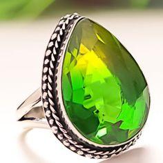 BI-COLOR-TOURMALINE-GEMSTONE-925-SILVER-JEWELRY-RING-9-25 Sterling Silver Jewelry, 925 Silver, Tourmaline Gemstone, Jewelry Rings, Gemstone Rings, Gemstones, Handmade, Color, Hand Made
