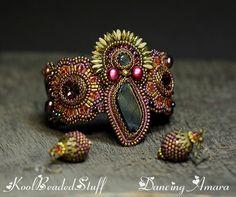 Dancing Amara  Reserved Bead embroidered cuff от koolbeadedstuff