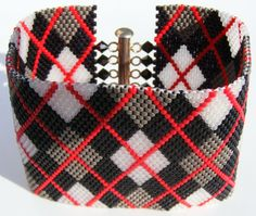 Black Red Grey And White Argyle Beaded Peyote by BakerStPaperGoods, $22.50