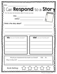 """Extend your read-alouds with this """"I can respond to a story""""comprehension printable. Designed for use with any picture book. Reading Resources, Reading Strategies, Reading Comprehension, Comprehension Strategies, Reading Response, Reading Intervention, Reading Tutoring, Teaching Reading, Reading Centers"""