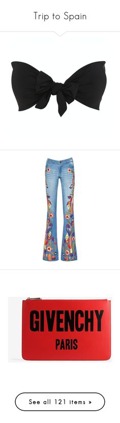 """""""Trip to Spain"""" by dadspice ❤ liked on Polyvore featuring tops, jeans, pants, bottoms, embroidered denim jeans, wide leg jeans, embellish jeans, embellish denim jeans, blue denim jeans and bags"""