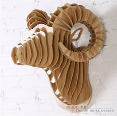 Nordic Scandinavia home animal head wall hanging,European Canada American style sheep head,Argali head wood decor Cardboard Sculpture, Cardboard Art, Wooden Crafts, Diy And Crafts, Arts And Crafts, 3d Cuts, Mdf Wall Panels, Cnc Projects, Woodworking Projects