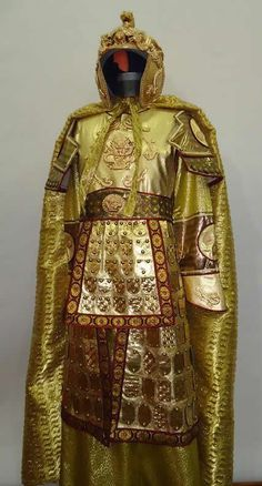 Replica ancient Chinese Golden General's armor costume and helmet.
