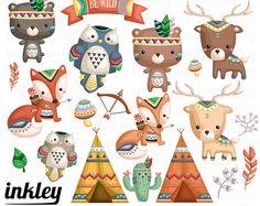 Tribal animaux Clipart - Clipart mignon, animaux Clipart, Clipart amusant, Clipart ensemble, Adorable numérique Clip Art