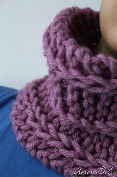 Scaldacollo a maglia, tutorial fotografico del punto incrociato - Amore Dì Zìa blog