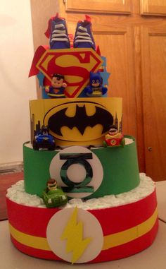 Superhero diaper cake
