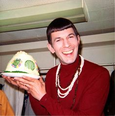 "Leonard Nimoy with Hobbit Hole Cake in 1968 after the release of ""The Ballad of Bilbo Baggins""."