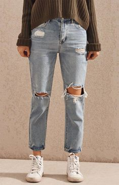 New Jeans Outfit Casual jeans push up red leather pants Extreme Ripped Jeans, Ripped Knee Jeans, Denim Jeans Men, Casual Jeans, Cute Casual Outfits, Jeans Style, Skinny Jeans, Trendy Jeans, Stylish Jeans