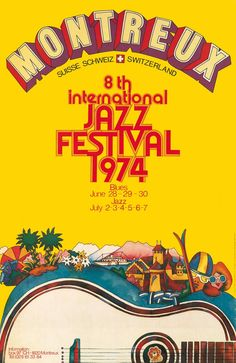 Vintage Graphic Design Montreux Jazz Festival Switzerland 1974 by Bruno Gaeng (Vintage Music Poster / Concert Poster / Retro Graphic Design ) Musikfestival Poster, Poster Sport, Poster Retro, Vintage Music Posters, Rock Posters, Band Posters, Movie Posters, Retro Graphic Design, Logo Design