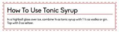Download a PDF of directions to include with gift: | How To Make Delicious Homemade Tonic Syrup
