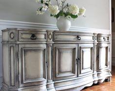 VENDIDO a JANICE - PULASKI Buffet aparador - sueco estilo gustaviano pintadas gabinete Shabby Chic degradado neutro gris consola
