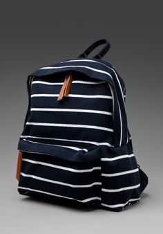 (repin-- out of stock but I'd search for it someplace else because remember how you should always be equipped to go on a yacht?) BRANDY MELVILLE  Add To Boutique  Striped Back Pack in Navy/White