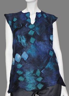 Diamond Nuno Felt Vest in Australian Merino and Silk