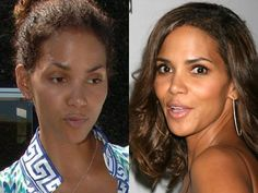 Celebrities With & Without Makeup - Halle Berry