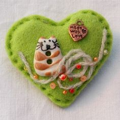 """""""Kitten in a tangle"""" felt brooch - he's got such a cheeky grin, just couldn't be annoyed with the mess this little fellow has made!     www.elliestreasures.co.uk"""