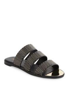 RACHEL ZOE Leather Slide Sandals. #rachelzoe #shoes #sandals
