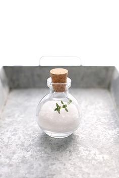 sea salt snow globe with thyme