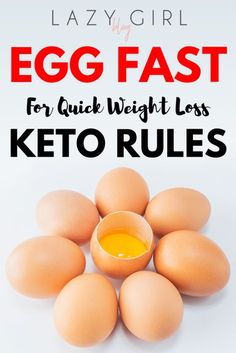 During the Egg Fast, you are supposed to eat eggs, healthy fats, and full-fat cheese for 3 to 5 days in a row. The goal of an egg fast is to jumpstart your body into ketosis. Egg Fast Keto Rules - Egg Fast Keto Rules for quick weight loss Egg Fast Rules, Keto Regime, Keto Egg Fast, Egg Diet Plan, 14 Day Egg Diet, Diet Plans, Comida Keto, Boiled Egg Diet, Boiled Eggs