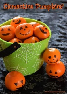 10 Alternative Trick or Treat Ideas for kids without all the sugar - clemetine pumpkins are healthy and fun for Halloween - Eats Amazing UK