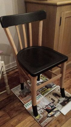 DIY painted relookee chair chaira black wood, painted wood chair and black - chair